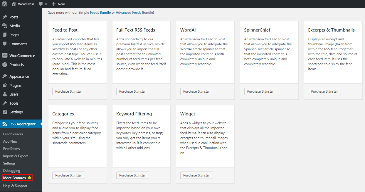 WP RSS Aggregator plugin pro features
