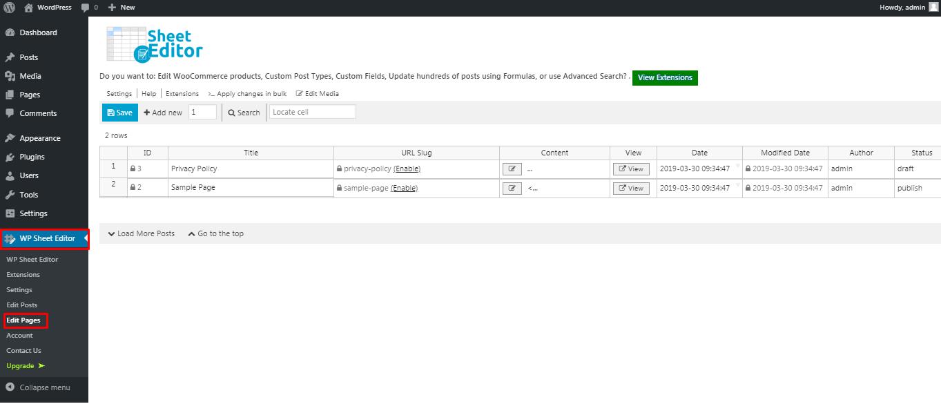 WP Sheet Editor plugin menu