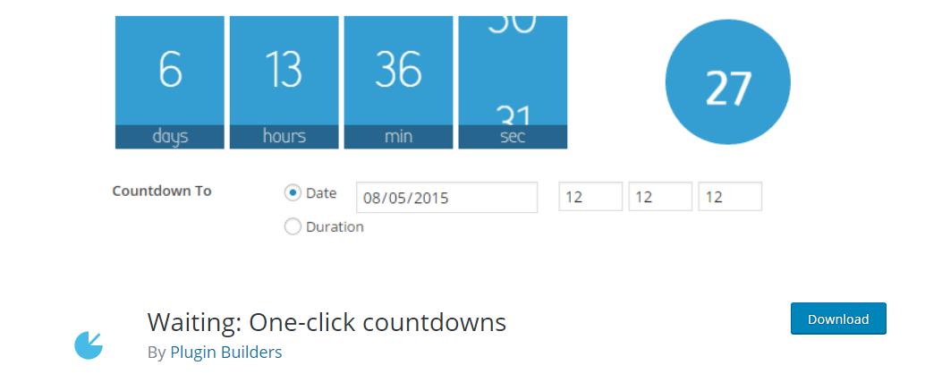 Waiting One-click Countdowns wordpress plugin