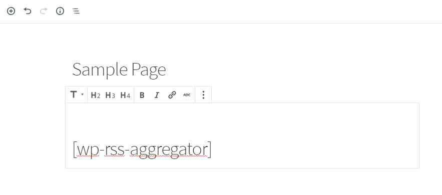Add the feed shortcode on a page