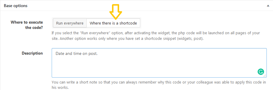 choose the option of where there is a shortcode