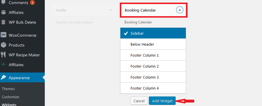 choose the sidebar to add the booking system