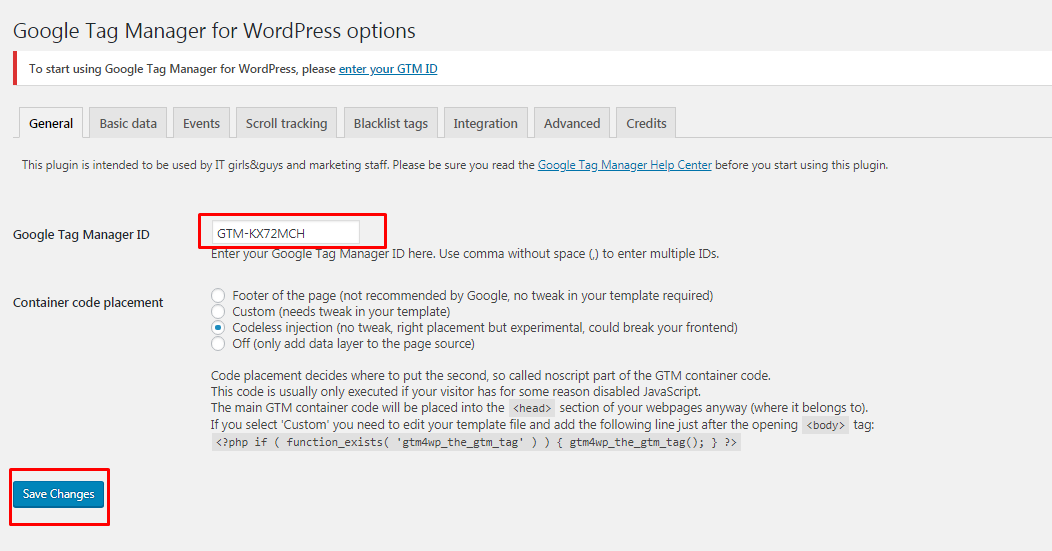 Configure and use google tag manager in wordpress