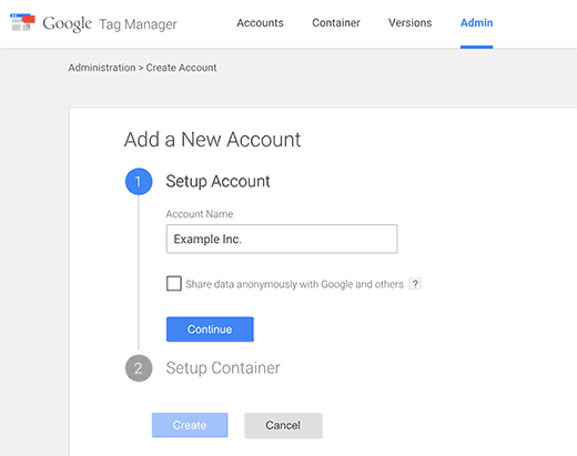 Create a new google tag manager account