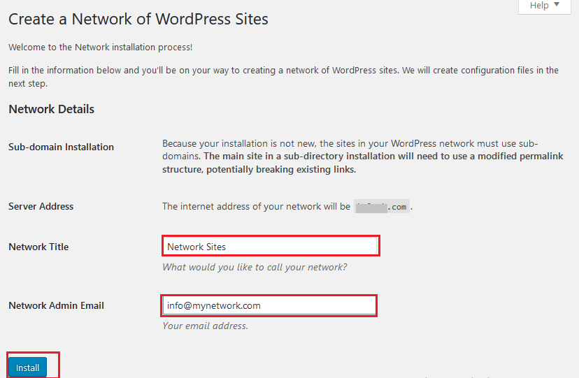 Create network of WordPress site