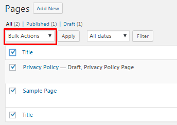 default bulk editing options in WordPress