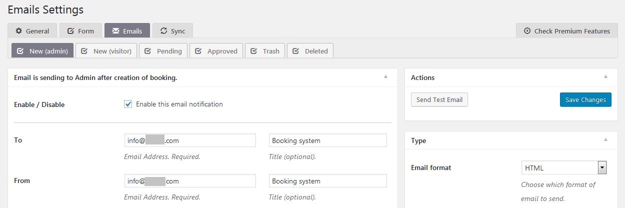 email settings of the booking system
