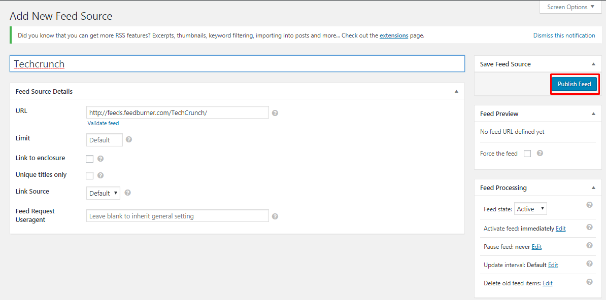 fill out the feed source url and publish feed