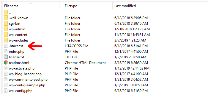 Find your htaccess file using FTP