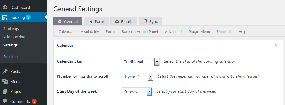 general settings of the booking system