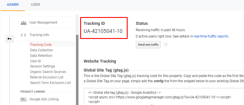 Get the tracking ID