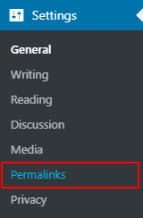 Go setting and permalinks in wordpress menu