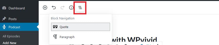 Gutenberg editor toolbar navigate