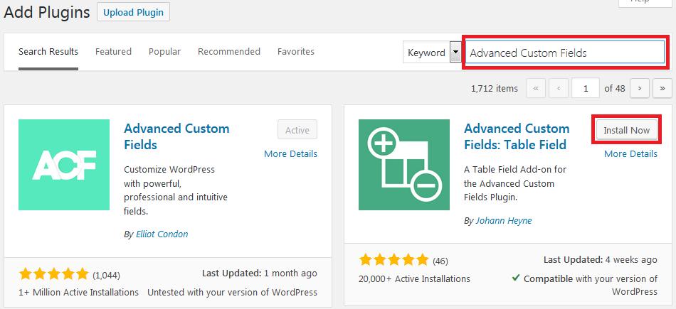install Advanced Custom Fields Table Field WordPress plugin