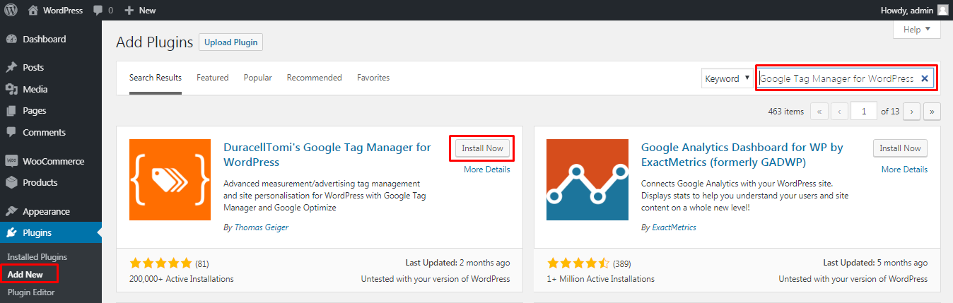 install Google Tag Manager plugin