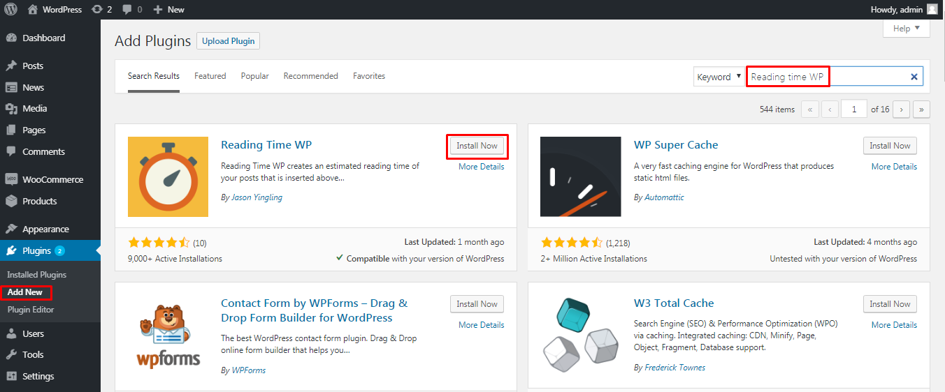 install Reading Time WP plugin