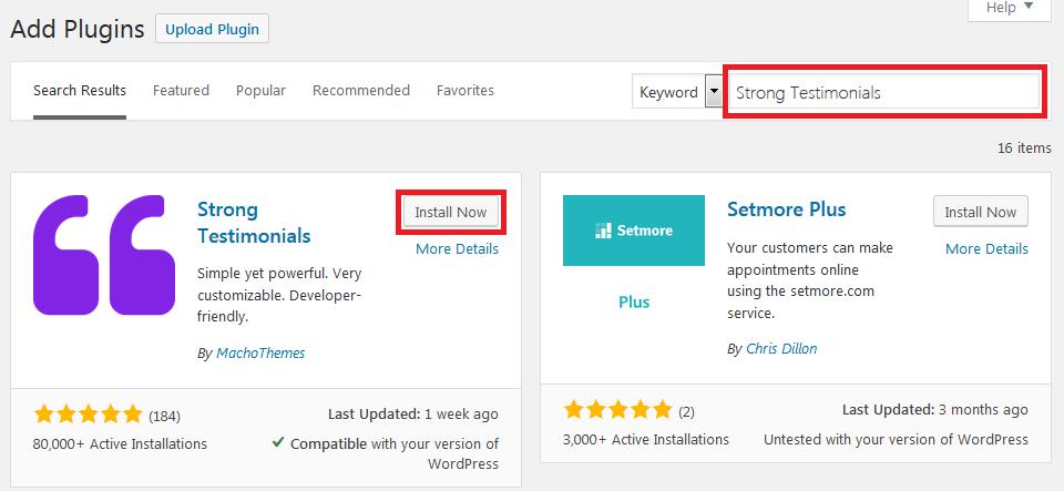 Install Strong Testimonials WordPress plugin