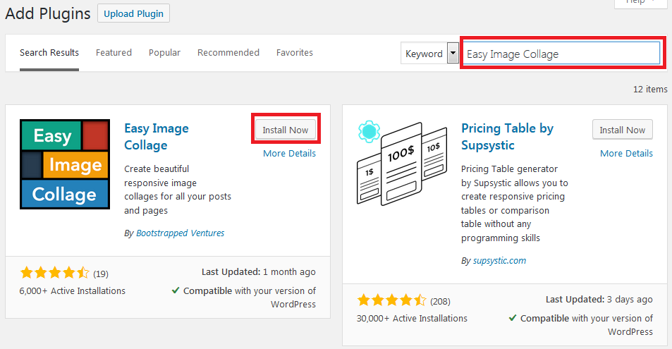install easy image wordpress plugin