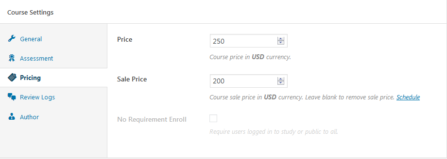 LearnPress courses pricing settings