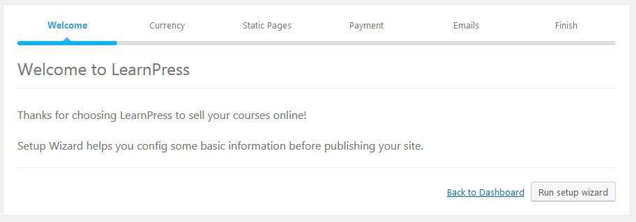 LearnPress plugin configuration welcome