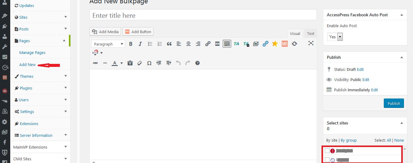 mainwp adding page