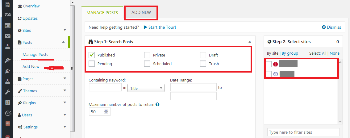 Mainwp managing sites posts