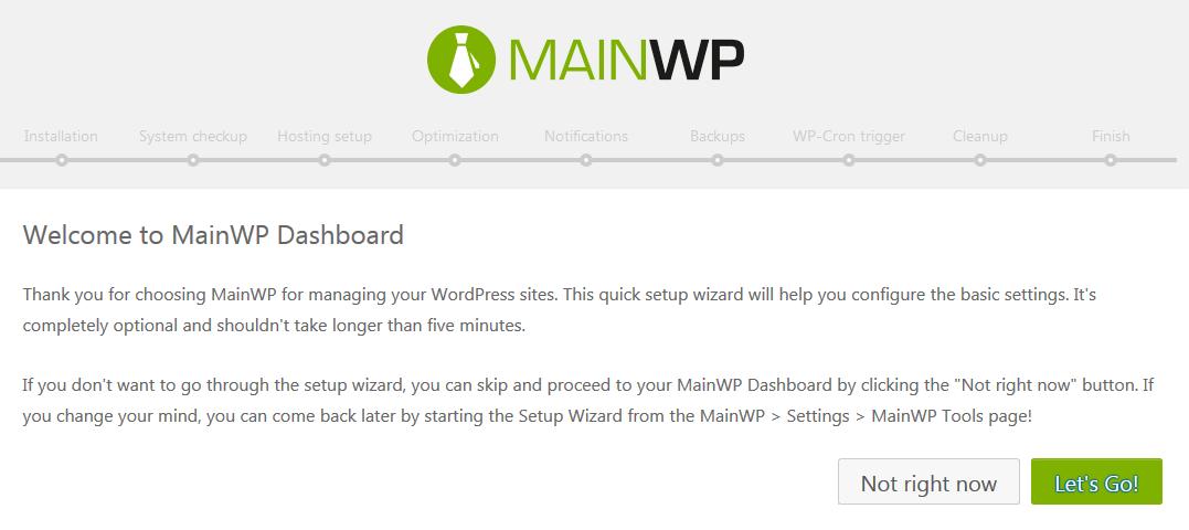 Mainwp dashboard wizard