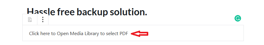 Select PDF from media library to post