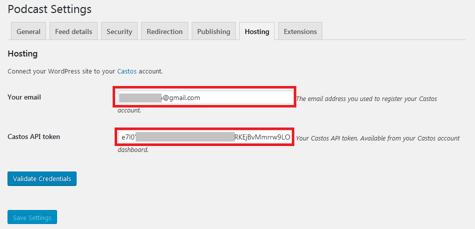 Podcasting settings hosting credentials validating