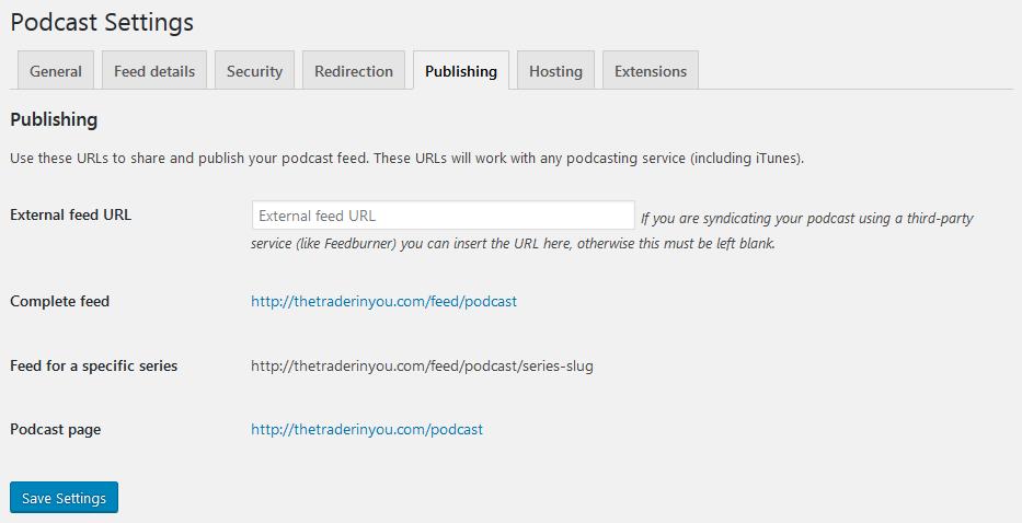 podcasting settings feeds publishing