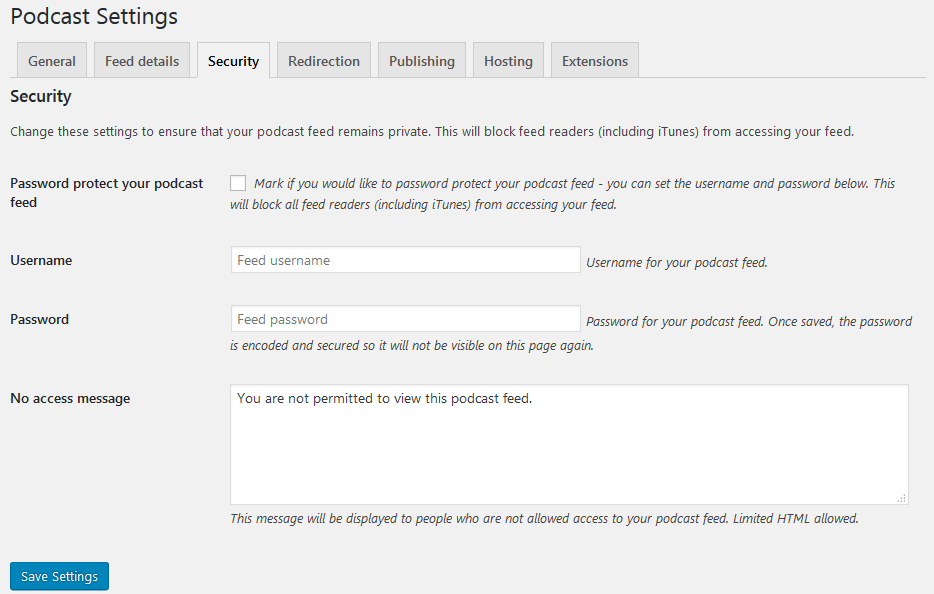 Podcasting feed security settings