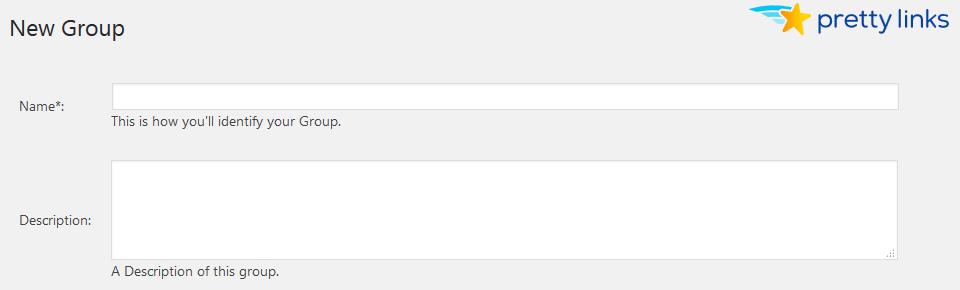 Prettylinks add group form
