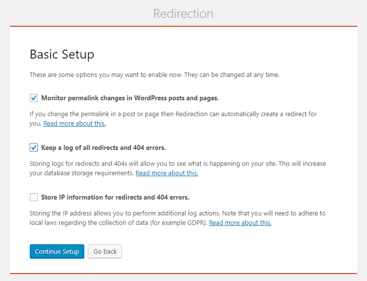 Redirection plugin setup