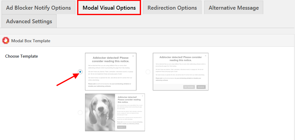 Set modal visual options