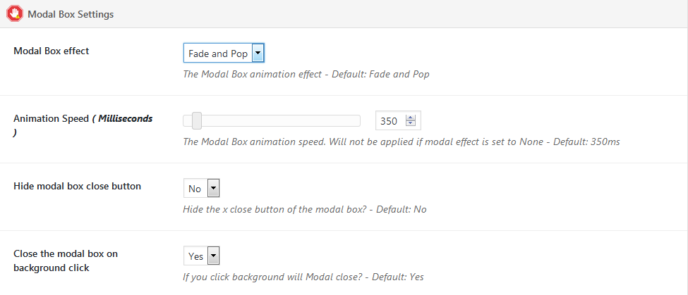 Modal box settings