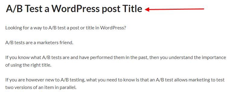 Show the first title in the A/B test