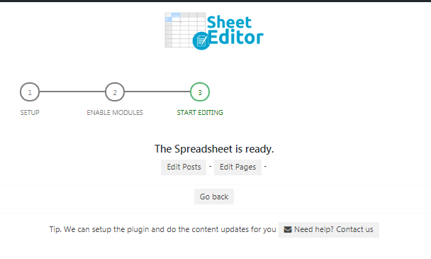 start bulk editing posts and pages in the spreadsheet