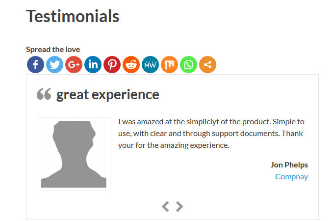 Testimonials display slideshow front end display