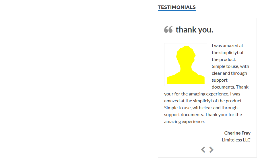 Testimonials display slideshow page view