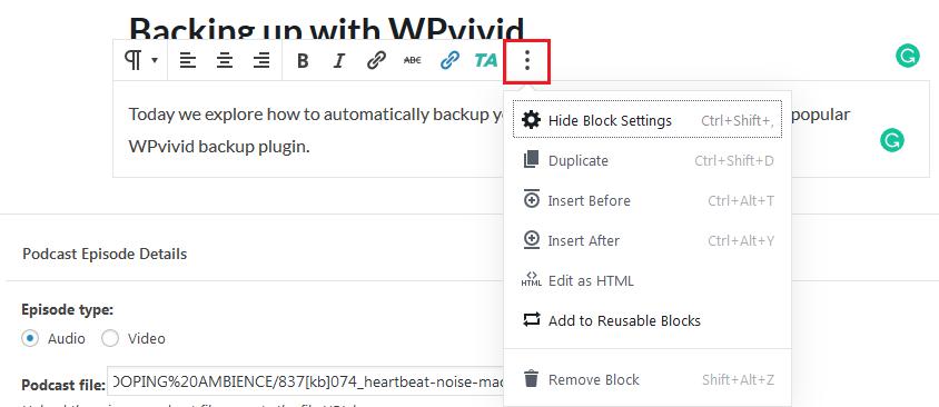Transform block tools extras options