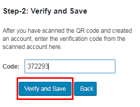 Verify and save code