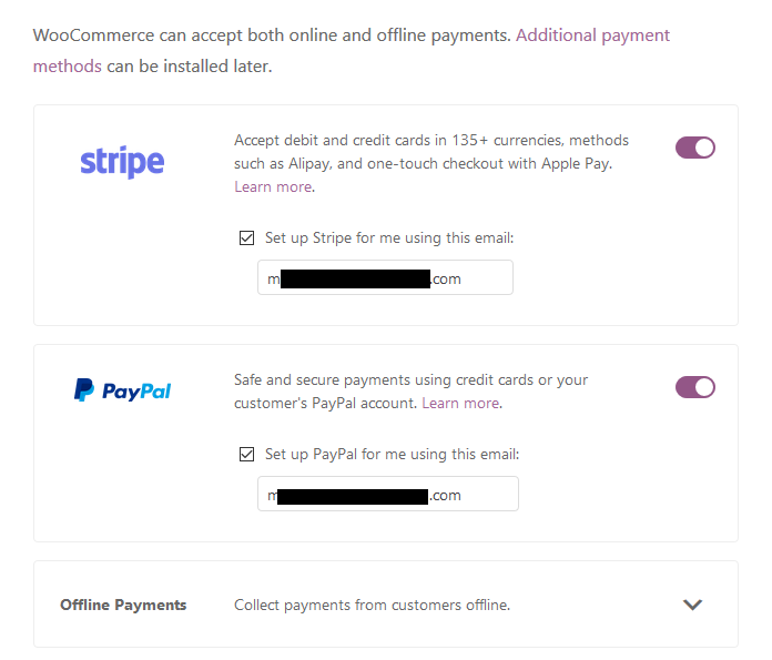 Setup WooCommerce payment methods