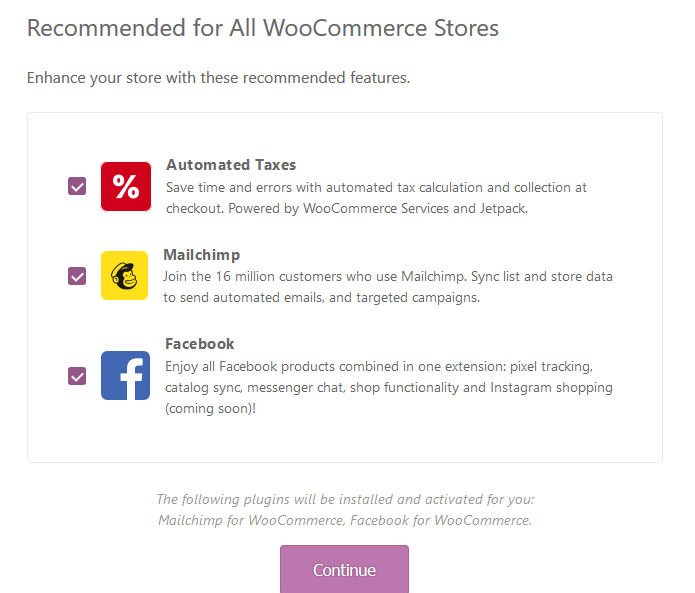 WooCommerce setup recommended plugins