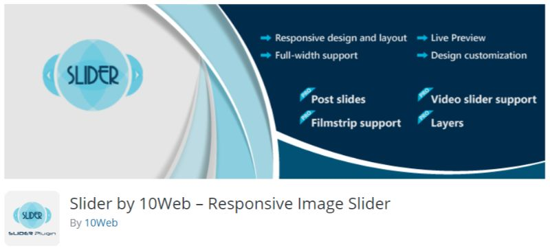 WordPress slider plugin by 10Web