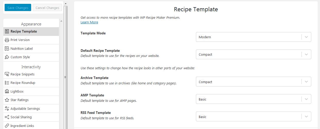 wp recipe maker plugin settings