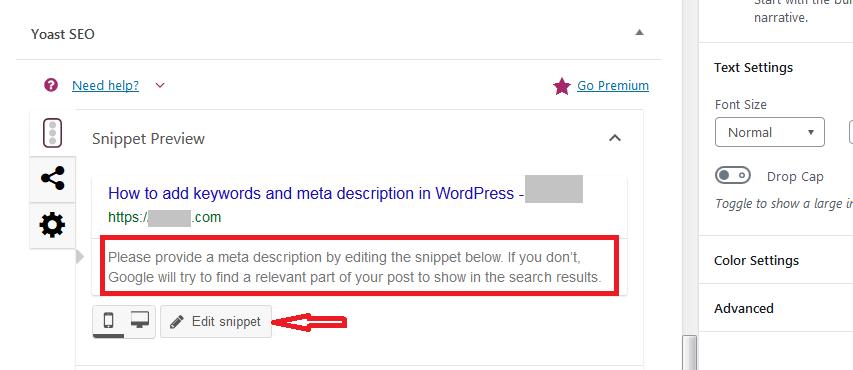 Yoast add meta description