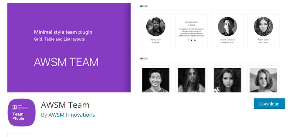 AWSM Team wordpress plugin