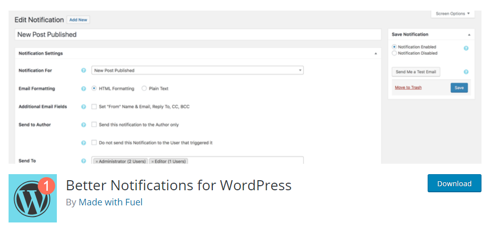 Better Notification For WordPress