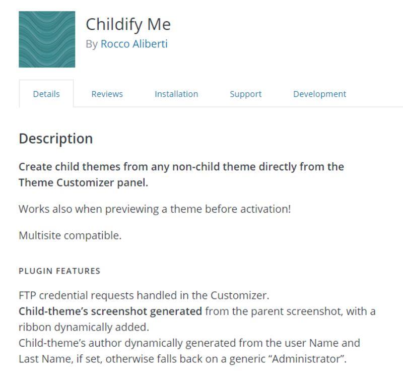 Childify Me plugin