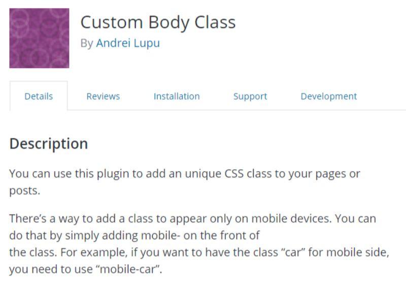 Custom Body Class plugin